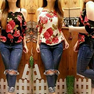 Ec Blouse rose l atasan fashiom baju blouse bunga tank top Wanita
