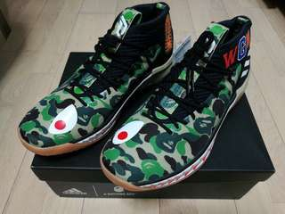 全新 US10.5 A BATHING APE X ADIDAS DAME 4鯊魚籃球鞋 NBA