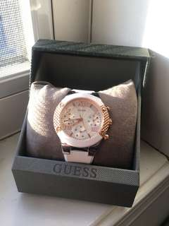 GUESS White and Rose Gold Watch
