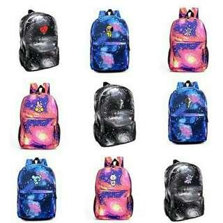 BTS BT21 Galaxy school bag