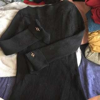 黑色法式針織上衣