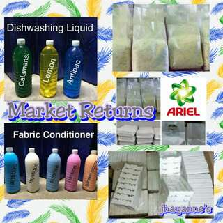 AUTHENTIC MARKET RETURNS (powdered detergent, Fabcon, dishwashing liquid, shampoo)
