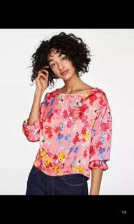 Europe and America flowers printed stretch blouse shirt