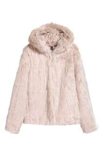 Beige Fur Jacket with Hood