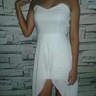 White long back dress