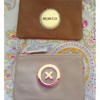 Genuine Mimco honey & pancake pouch leather