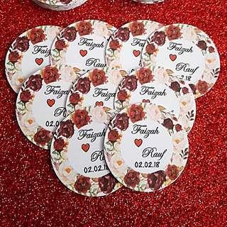 Bunga rampai red rose tag