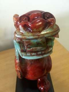 Wealth fetching old Jade red/green Pixiu base included 红青老玉貔貅家底座(free register delivery and 1 free gift)