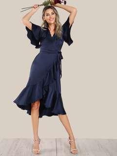 SHEIN  Ruffle Hem Satin Wrap Tie Dress