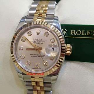 Used Excellent Condition Rolex 179171 Ladies Diamond Index 18K Rose Gold / Steel Automatic 26mm  Z Serial with certificate