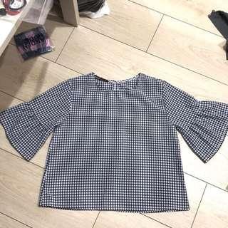 日系小方格短版棉麻上衣 蝴蝶袖 七分袖 襯衫 格紋 格子