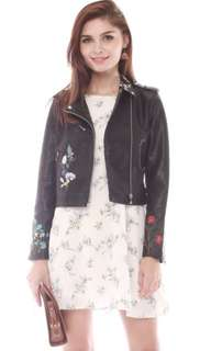 Embroidery Biker Leather Jacket