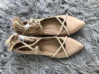 Spurr lace up ballerina flats nude