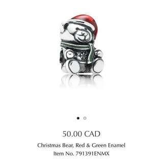 Pandora authentic Christmas bear charm