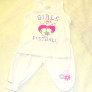 Charity Sale! Basics Children's Clothing Set size 18 Months baby Girl Sleeveless Top and Jogging Pants