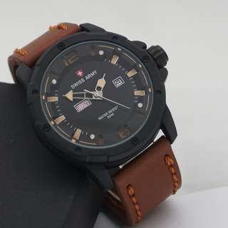Swiss army day-date leather