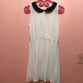 Cache Cache Preppy Sheer White Dress