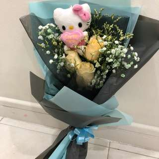Roses Bouquet with hello kitty