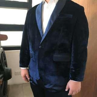 (RENT) Midnight Blue Velvet Suit/Tuxedo