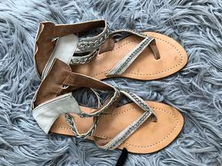 Chain nude sandals