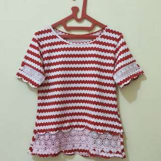 BLOUSE RED WHITE