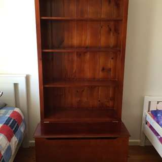 Stained timber bookshelf