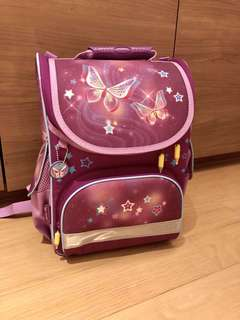Tiger Family ergonomic bag (purple butterflies)