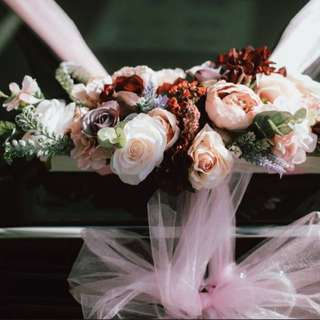 Wedding Car Silk Flowers Decoration with Pink Tulle Rolls 婚禮花車佈置