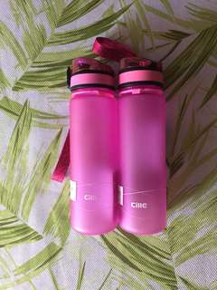 2 new drink bottles pink