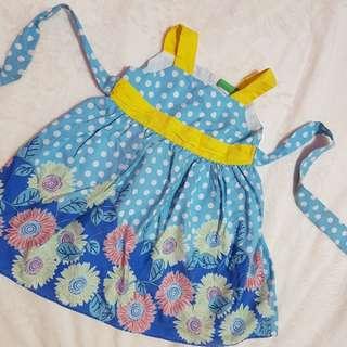 Blue Floral Polka Dress