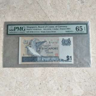 SINGAPORE $1 BIRD SOLID S/N B/99 111111 PMG 65EPQ GEM UNC