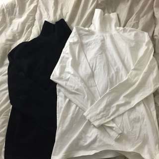 BLACK AND WHITE OVERSIZED TURTLENECKS
