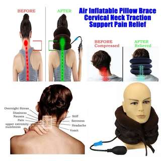 Inflatable Cervical Neck Traction Support to Relieve Headache Neck Pain and Correct Neck Posture