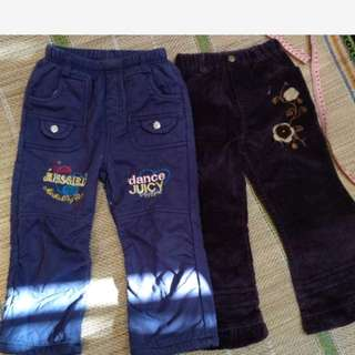 紫色童褲二件50元 無汙免運約110公分穿 褲長58cm
