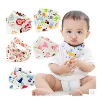 Baby Bib/Baby bibdana 2 sided designs Triangle Cotton Towel Set of 4