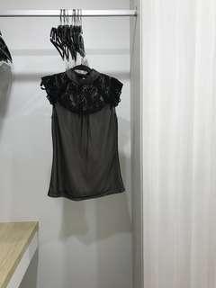 LVER Black Lace Top