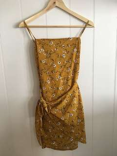 Yellow floral sundress wrap dress size S