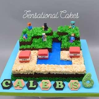 Gourmet Minecraft 3d cake , brownies and rice crisp chocolate cake Maze theme 3D cake Singapore #SingaporeCake