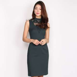 FREMONT CROCHET FRONT PENCIL DRESS IN FOREST GREEN