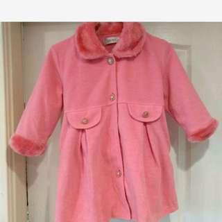 童 粉紅大衣 無汙 免運 衣況好110cm穿