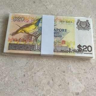 98 PCS SINGAPORE $20 BIRD A/79 915203-300 RUN UNC