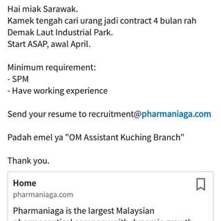 Order Management Assistant in Kuching