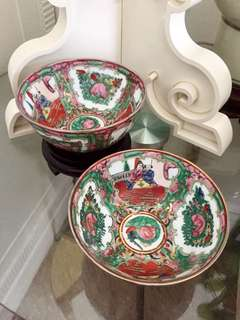 Famille Rose Canton ware Rice Bowls