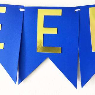 Royal blue with gold lettering handmade birthday banner