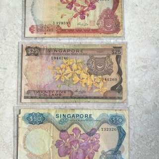 PROMOTION LOT 3 PCS SINGAPORE $10, $25 & $50 ORCHID