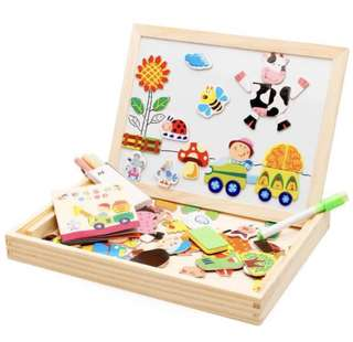 Wooden whiteboard in a box with farm theme magnets (Brand New)
