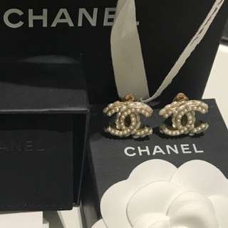 Authentic Chanel Pearl Clip-on Earrings