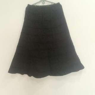 🚚 專櫃黑色棉花樣長裙(9.9成新)