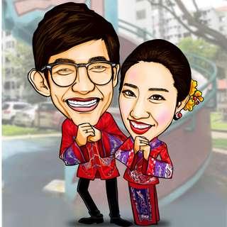 Digital wedding caricature