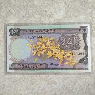SINGAPORE $25 ORCHID FIRST PREFIX A/1 137364 XF+